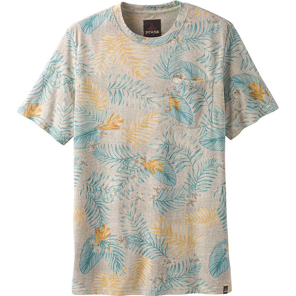 PrAna Ryann Printed Short Sleeve Crew Shirt M - Mud Palm - PrAna Mens Apparel - Apparel & Footwear, Men's Apparel