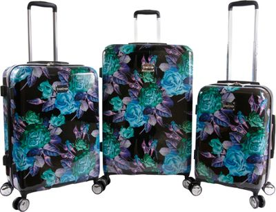 BEBE Rosette 3 Piece Set Suitcase with Spinner Wheels Black/Purple - BEBE Luggage Sets