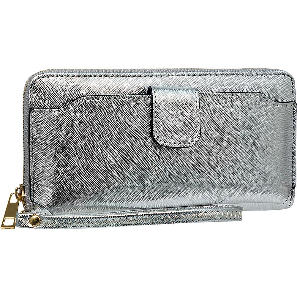 Rebecca Rifka Single Zip Wristlet Wallet Silver Womens Wallets Women S
