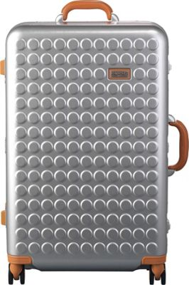 Dot Drops Chapter 4 29 inch Hardside Checked Spinner Luggage Silver - Dot Drops Hardside Checked