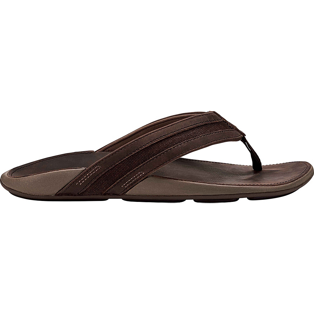 OluKai Mens Ikoi Sandal 13 - Dark Wood/Dark Wood - OluKai Mens Footwear - Apparel & Footwear, Men's Footwear