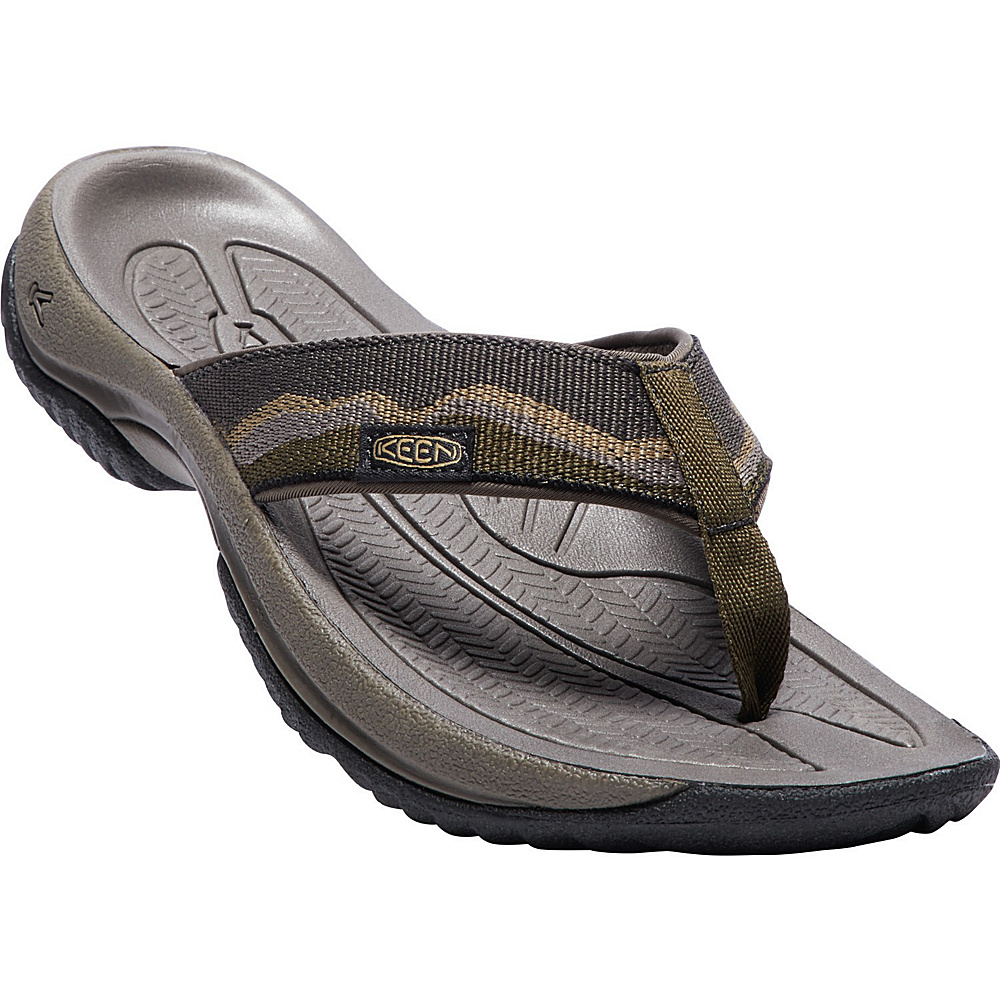 KEEN Mens Kona Flip Sandals 9.5 - Dark Olive/Antique Bronze - KEEN Mens Footwear - Apparel & Footwear, Men's Footwear