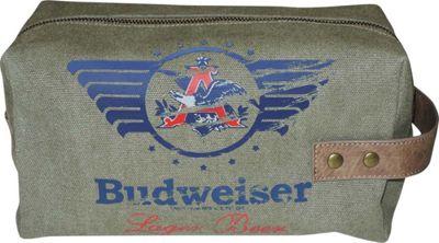 Budweiser Eagle Wings Single Zip Travel Kit Green - Budweiser Toiletry Kits