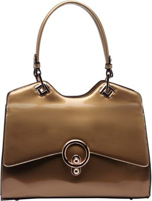 STYLE STRATEGY Kiss Lock Double Handle Shoulder Bag Champagne - STYLE STRATEGY Manmade Handbags