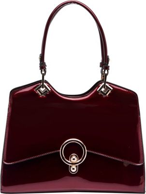 STYLE STRATEGY Kiss Lock Double Handle Shoulder Bag Wine - STYLE STRATEGY Manmade Handbags