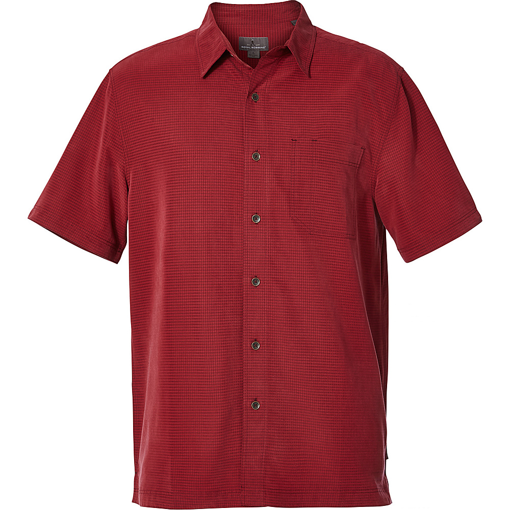 Royal Robbins Mens Desert Pucker Dry Short Sleeve Shirt M - Syrah - Royal Robbins Mens Apparel - Apparel & Footwear, Men's Apparel