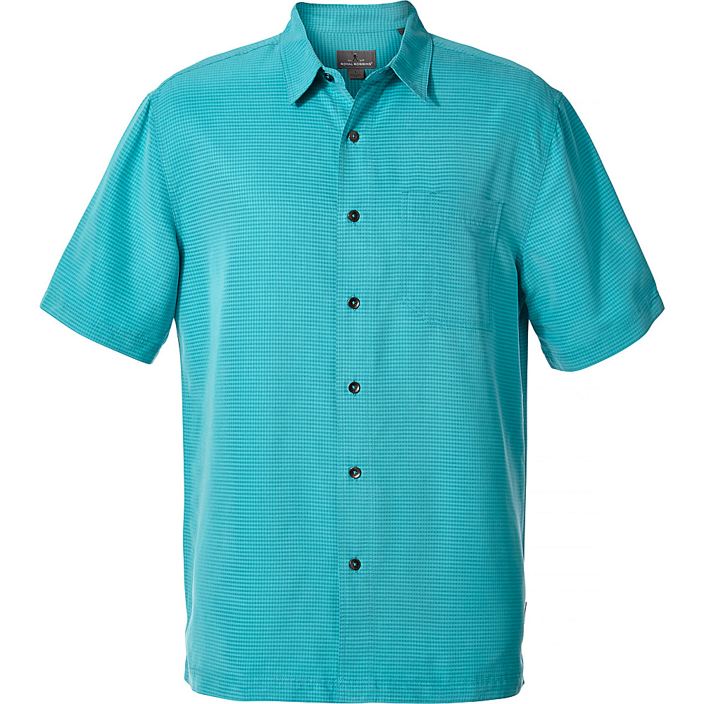Royal Robbins Mens Desert Pucker Dry Short Sleeve Shirt M - Viridian Green - Royal Robbins Mens Apparel - Apparel & Footwear, Men's Apparel