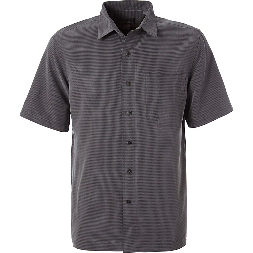 Royal Robbins Mens Desert Pucker Dry Short Sleeve Shirt M - Asphalt - Royal Robbins Mens Apparel - Apparel & Footwear, Men's Apparel