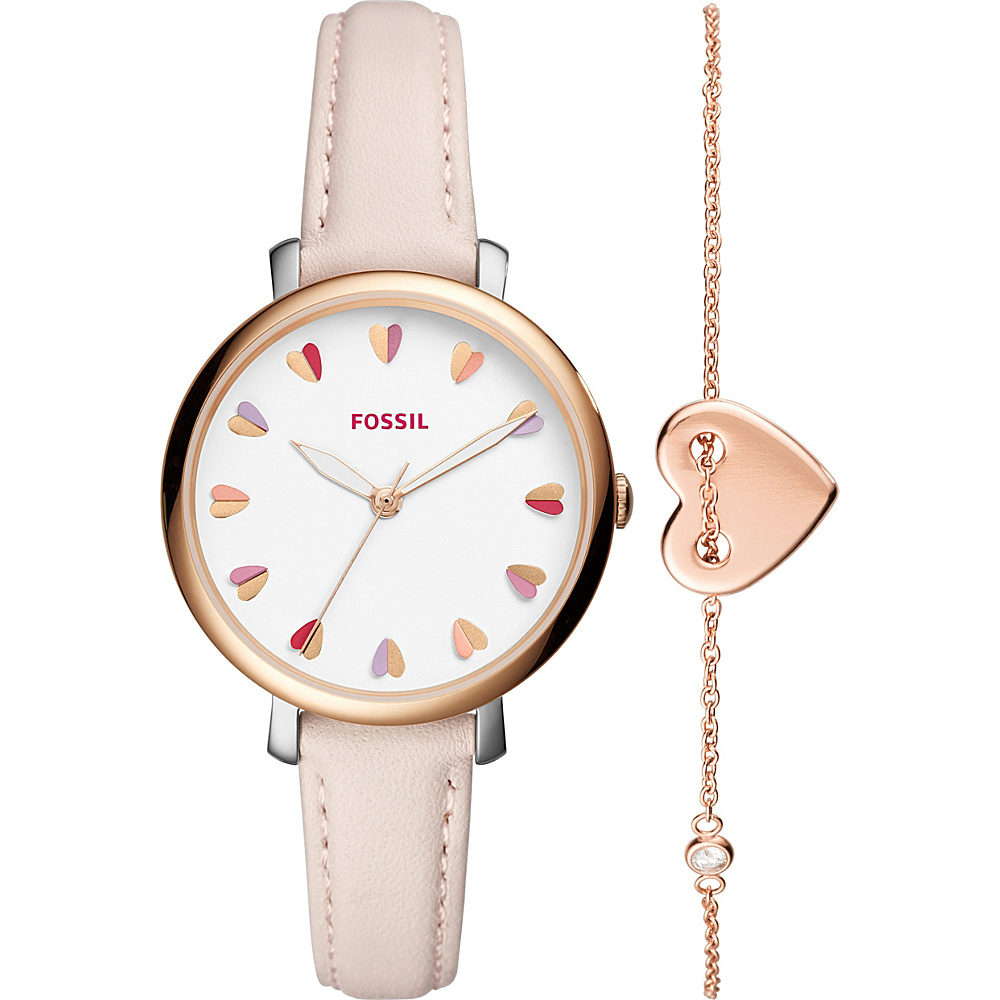 Fossil Jacqueline Three-Hand Pastel Pink Leather Watch and Jewelry Box Set Rose Gold - Fossil Watches - Fashion Accessories, Watches