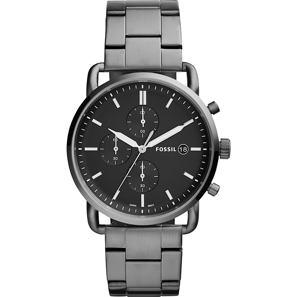Fossil The Commuter Chronograph Smoke Stainless Steel Watch Grey - Fossil Watches - Fashion Accessories, Watches