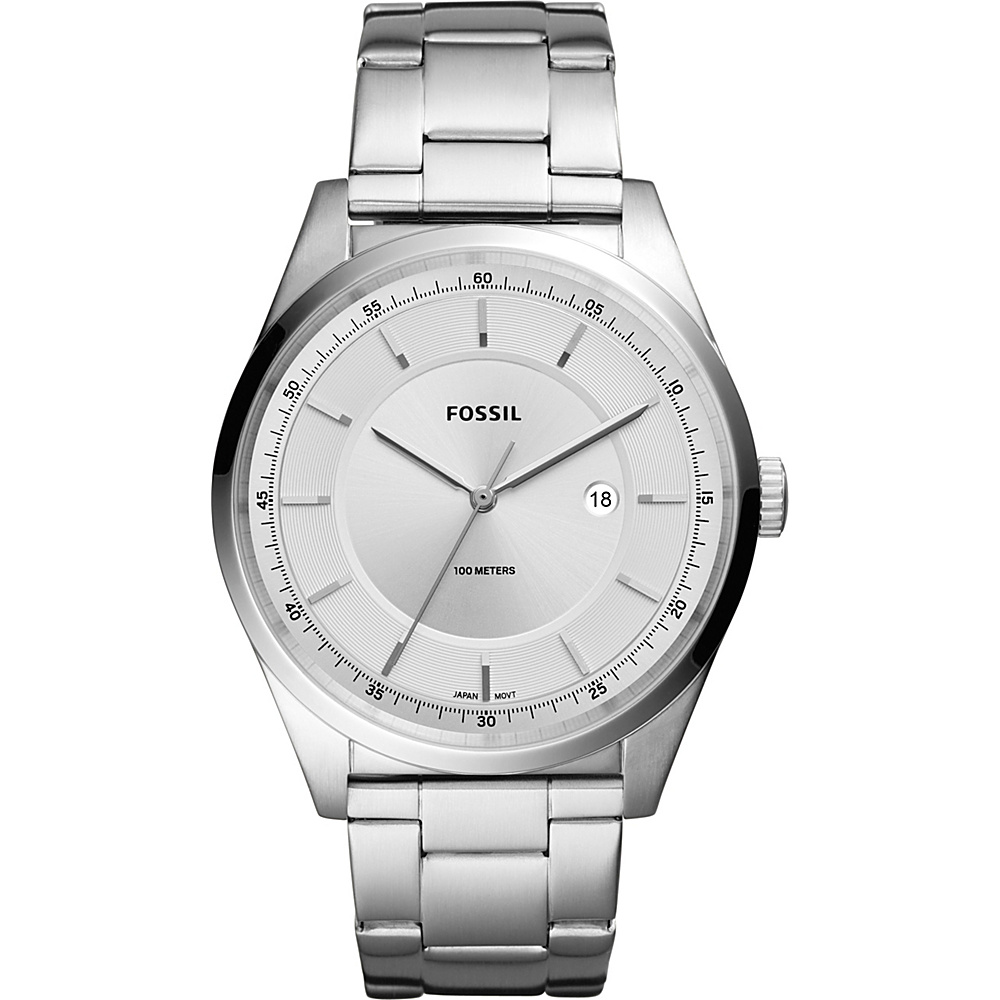 Fossil Mathis Three-Hand Date Stainless Steel Watch Silver - Fossil Watches - Fashion Accessories, Watches