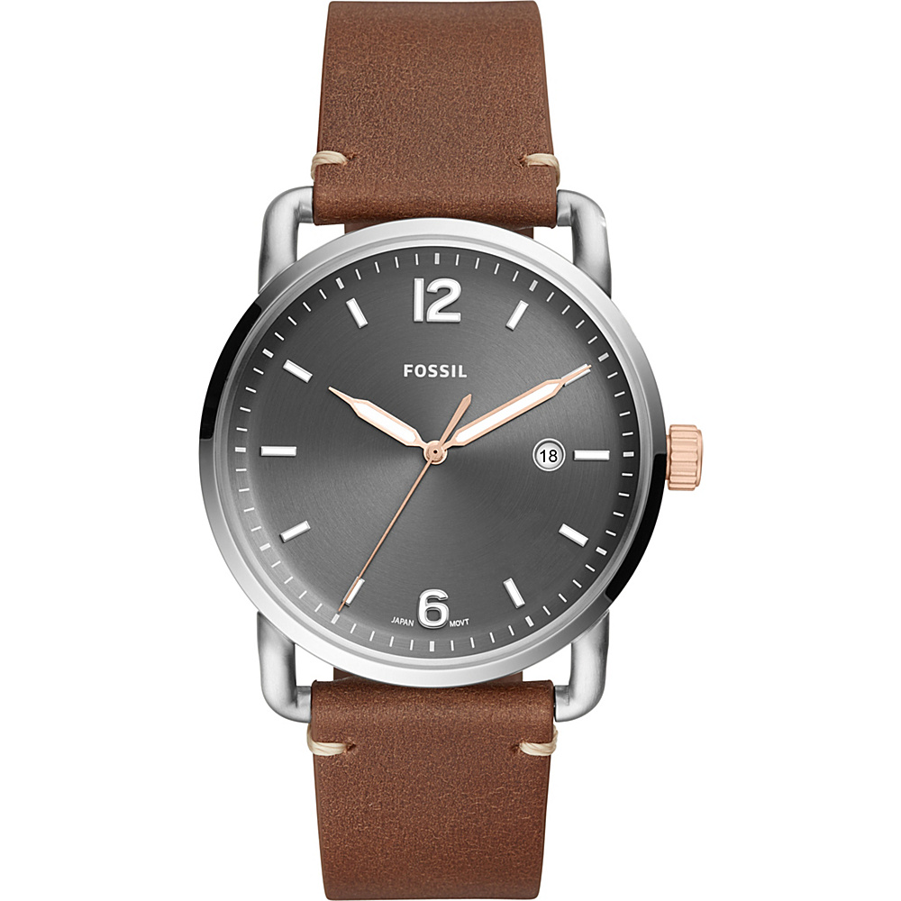 Fossil The Commuter Three-Hand Date Light Brown Leather Watch Brown - Fossil Watches - Fashion Accessories, Watches