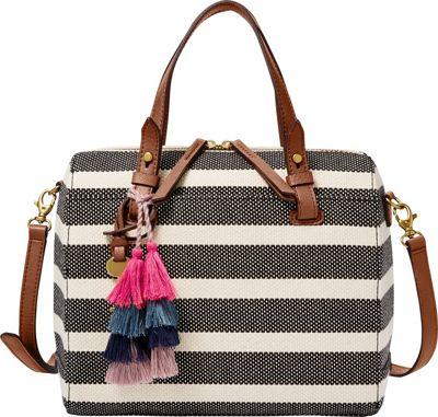 Fossil Rachel Satchel Black Stripe - Fossil Fabric Handbags