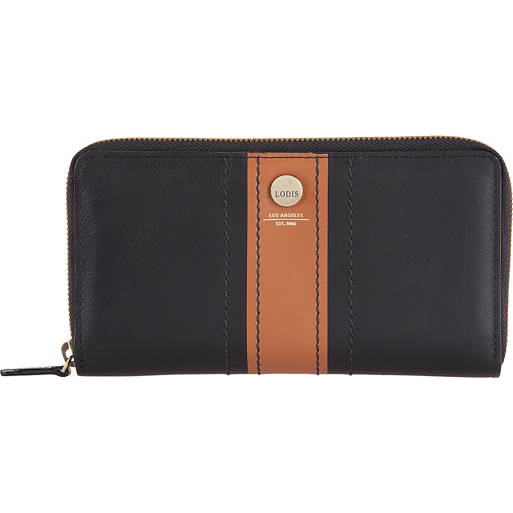 Lodis Rodeo Stripe RFID Perla Zip Wallet Black - Lodis Womens Wallets - Women's SLG, Women's Wallets