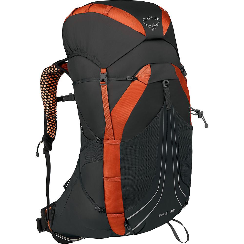 Osprey Exos 58 Hiking Backpack Blaze Black – MD - Osprey Backpacking Packs - Outdoor, Backpacking Packs