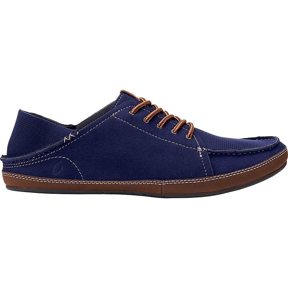 OluKai Mens Kauwela Lace Slip-On 8 - Trench Blue/Toffee - OluKai Mens Footwear - Apparel & Footwear, Men's Footwear