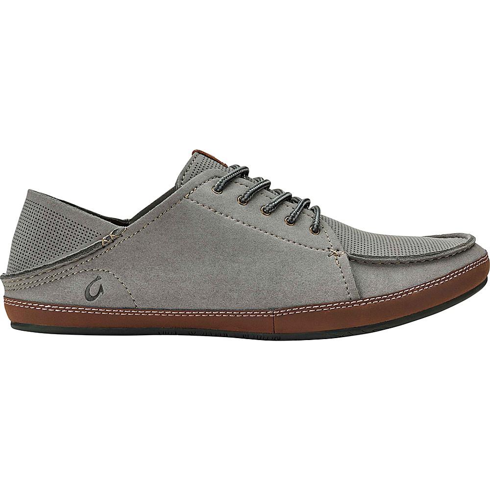 OluKai Mens Kauwela Lace Slip-On 9.5 - Charcoal/Toffee - OluKai Mens Footwear - Apparel & Footwear, Men's Footwear
