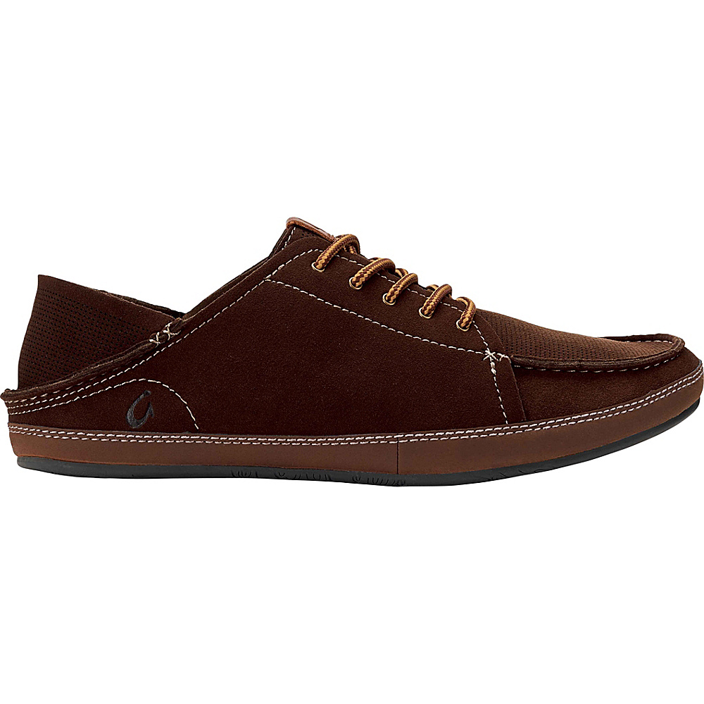 OluKai Mens Kauwela Lace Slip-On 8 - Dark Wood/Toffee - OluKai Mens Footwear - Apparel & Footwear, Men's Footwear