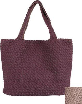 Riki & Romi Weave Reversible Tote Plum/Mauve - Riki & Romi Manmade Handbags