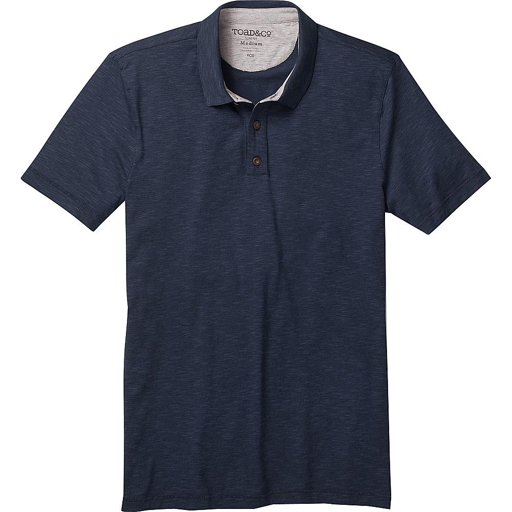 Toad & Co Mens Tempo Short Sleeve Slim Polo M - Deep Navy - Toad & Co Mens Apparel - Apparel & Footwear, Men's Apparel
