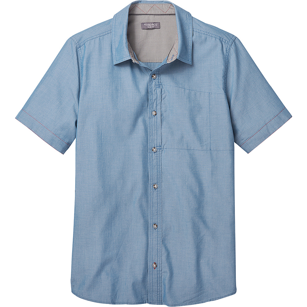 Toad & Co Mens Cutler Short Sleeve Slim Shirt XL - Bright Indigo - Toad & Co Mens Apparel - Apparel & Footwear, Men's Apparel
