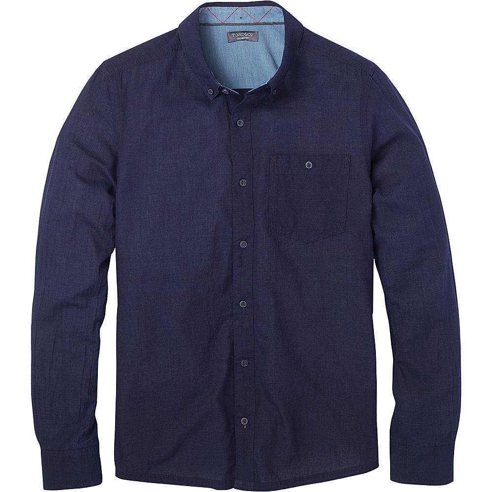 Toad & Co Mens Mattock Long Sleeve Slim Shirt S - Dark Indigo Solid - Toad & Co Mens Apparel - Apparel & Footwear, Men's Apparel