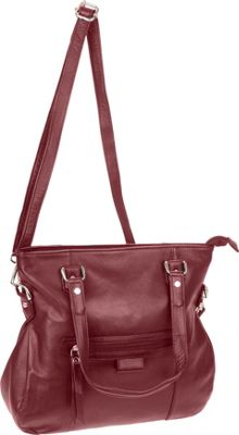 R & R Collections Top Zip Satchel Burgundy - R & R Collections Leather Handbags