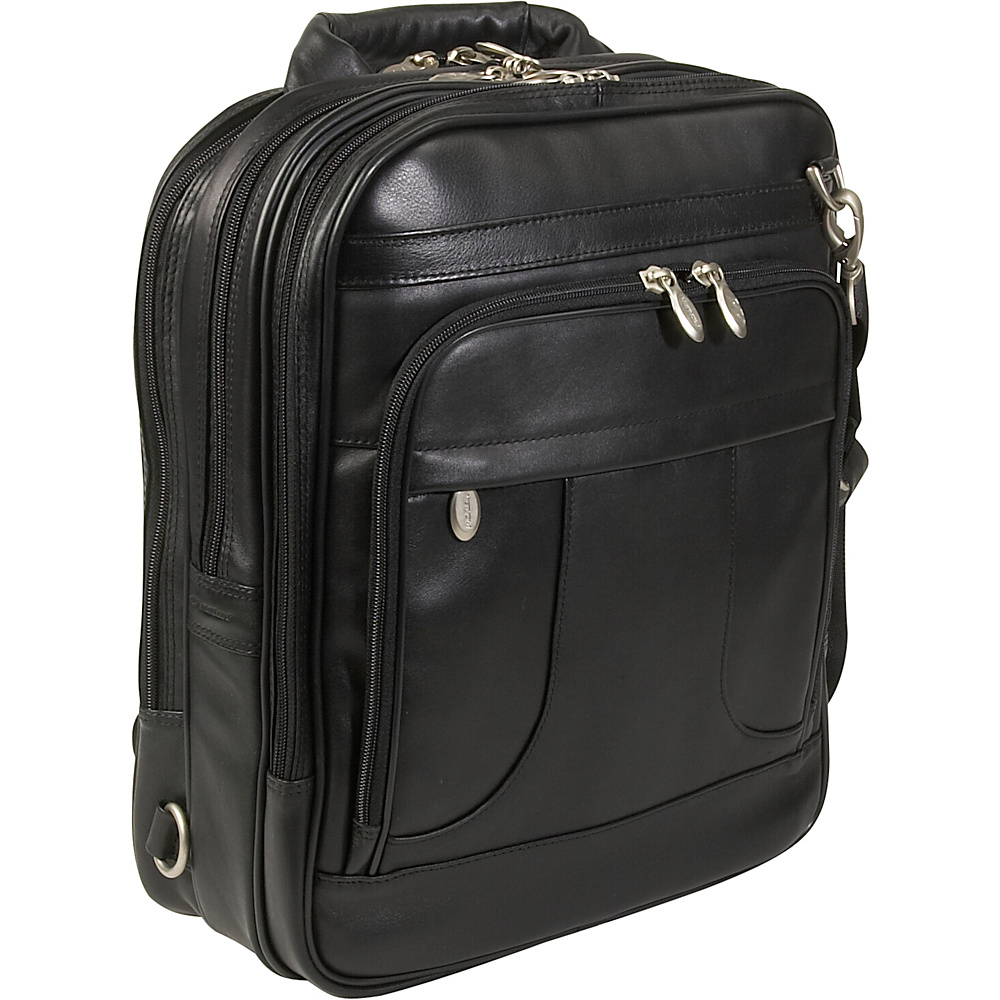 "McKlein USA Lincoln Park Leather 15.6"" Three-Way Laptop Backpack Black - McKlein USA Business & Laptop Backpacks"