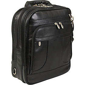 Lincoln Park Leather 15.4'' Convertible Laptop Backpack Black