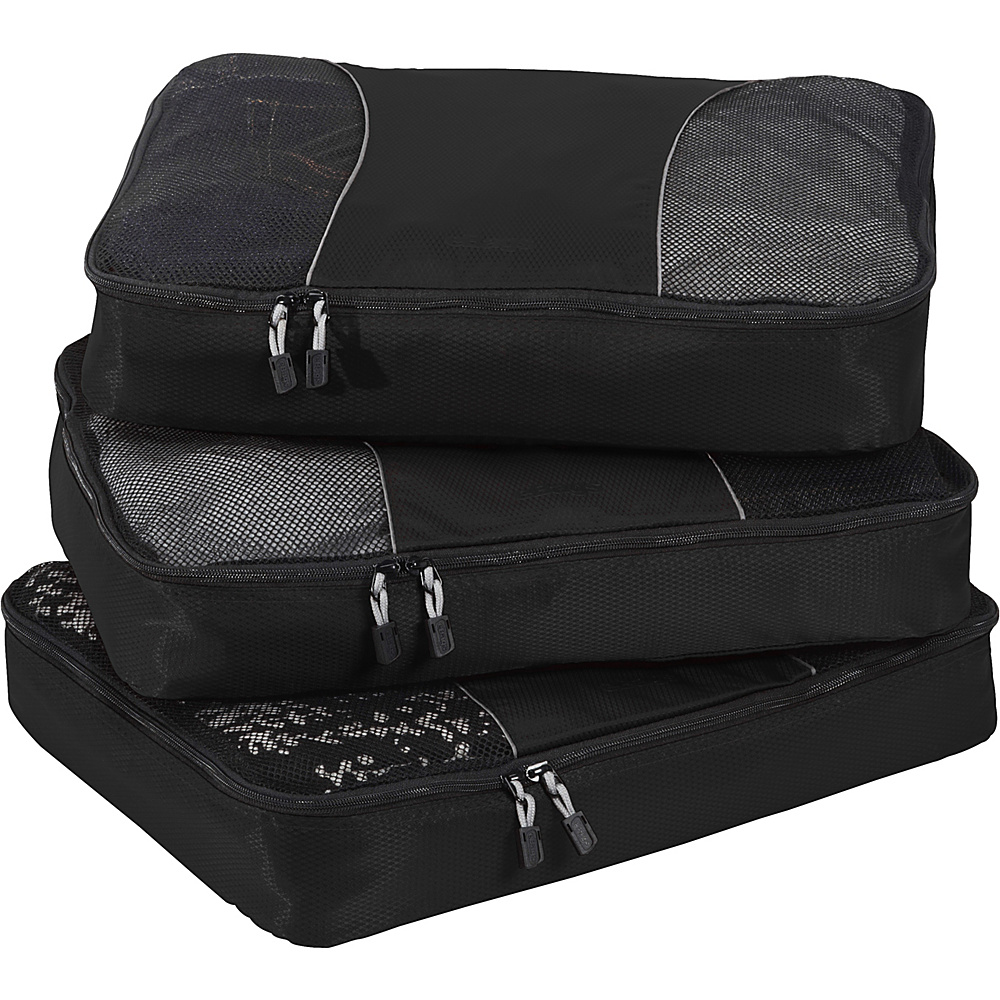 eBags Large Packing Cubes - 3pc Set - Black - Travel Accessories, Travel Organizers