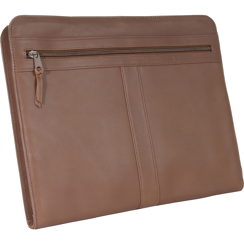Royce Leather Executive Zip Around Padfolio - Tan - Work Bags & Briefcases, Business Accessories