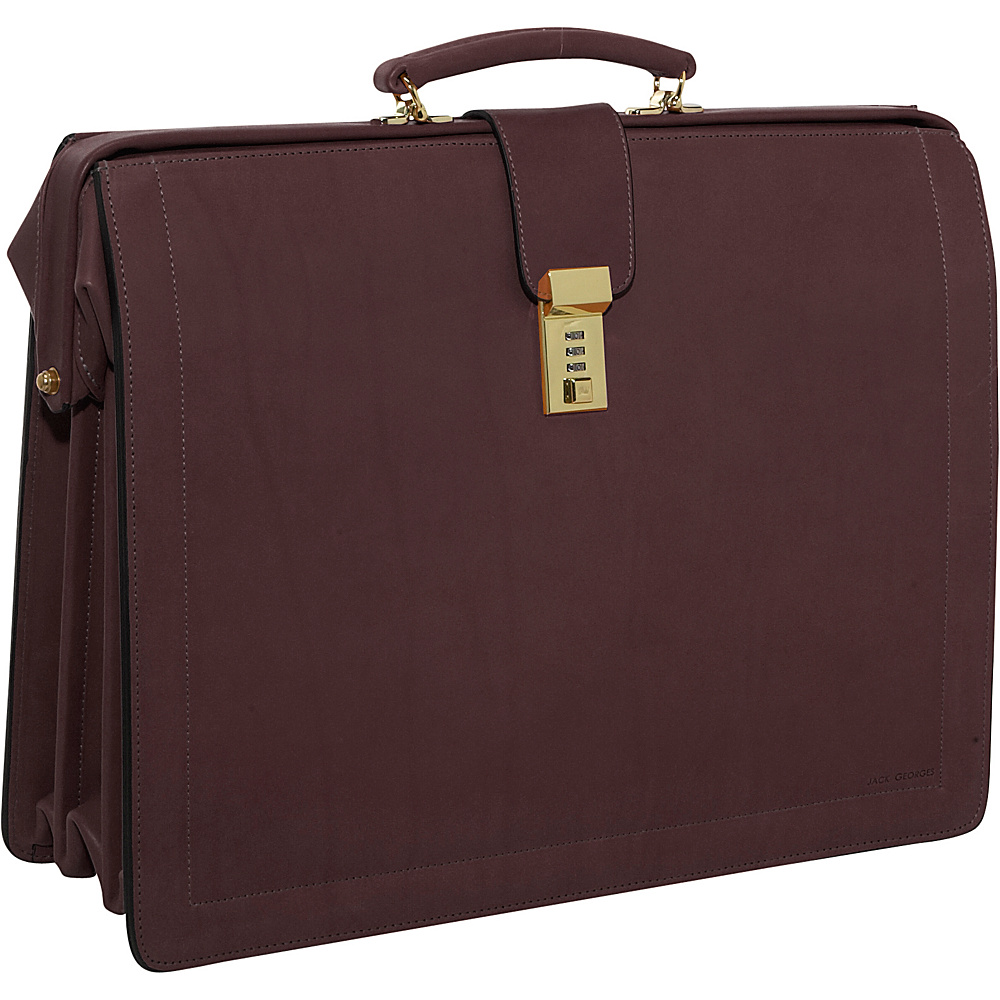 Jack Georges Belting Collection Classic Leather Laptop Briefbag w/ Combination Lock Brown - Jack Georges Non-Wheeled Computer Cases