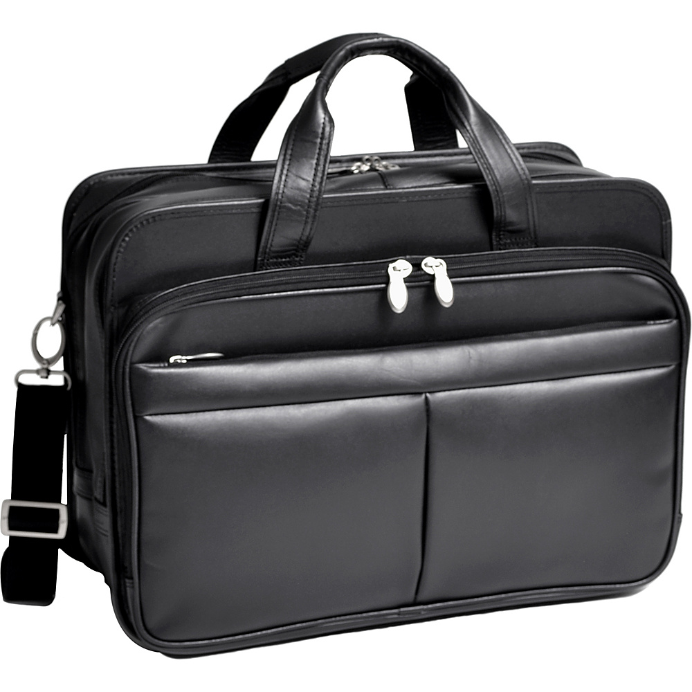 McKlein USA Walton Leather 17 Expandable Laptop Case Black - McKlein USA Non-Wheeled Business Cases - Work Bags & Briefcases, Non-Wheeled Business Cases