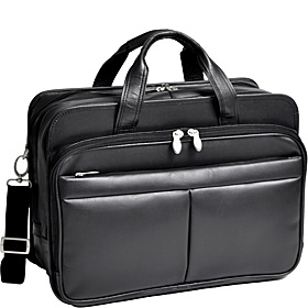 Walton Leather 17'' Expandable Laptop Case  Black