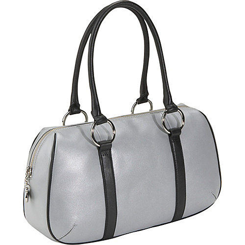 Bisadora Silver Leather Sporty Satchel - Silver