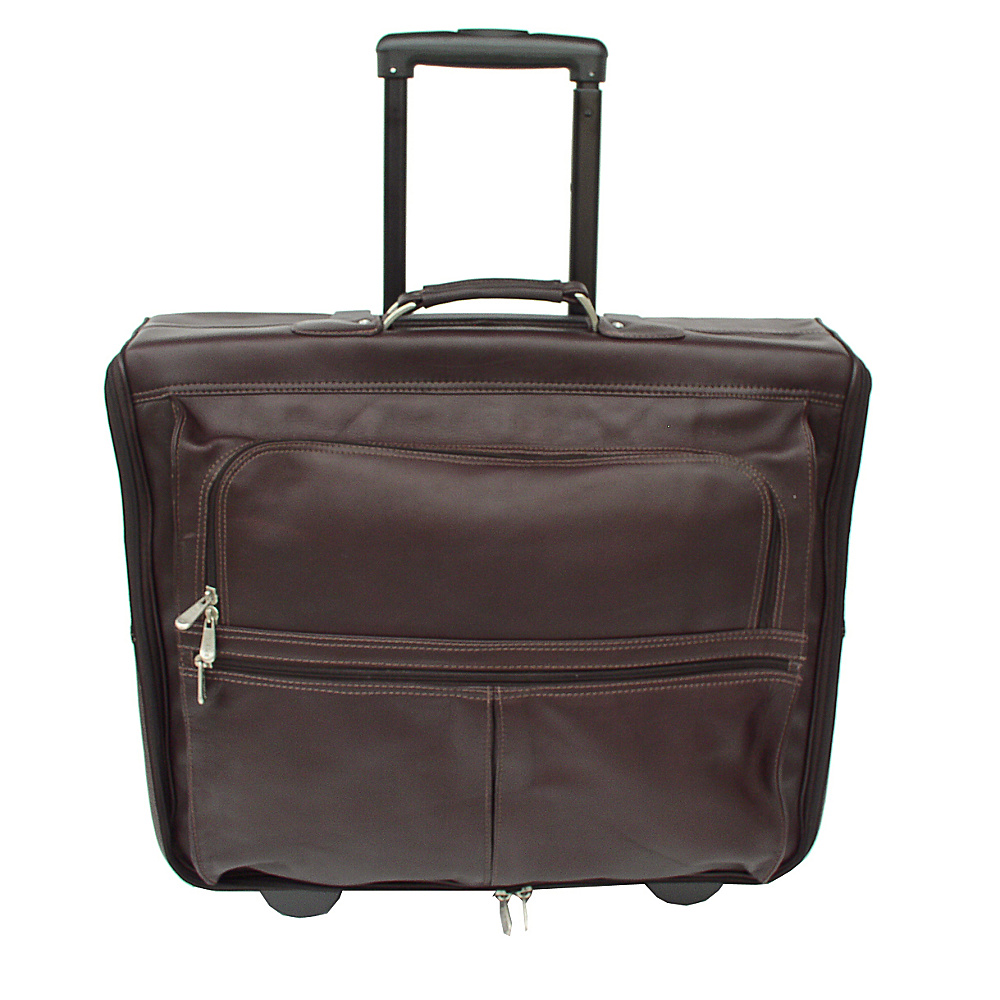 Piel Garment Bag on Wheels - Chocolate - Luggage, Garment Bags