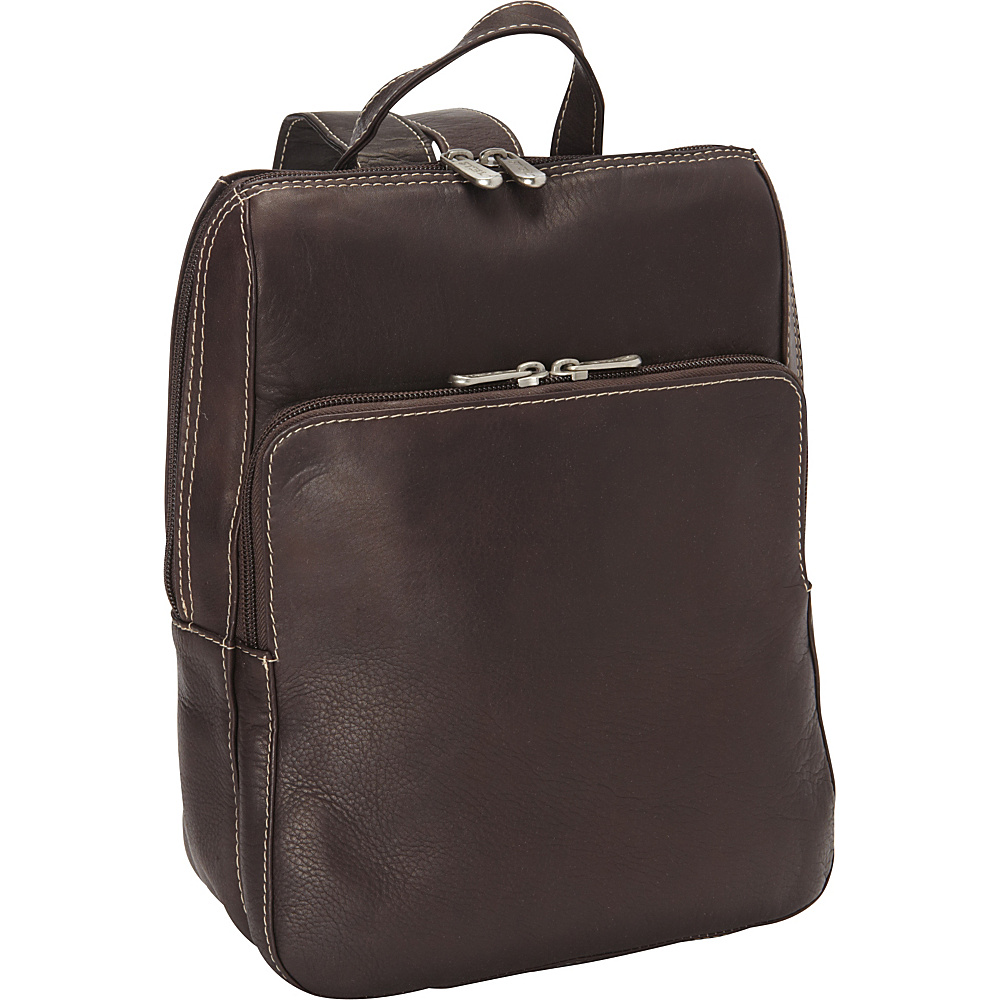 Piel Slim Front Backpack - Chocolate - Handbags, Leather Handbags