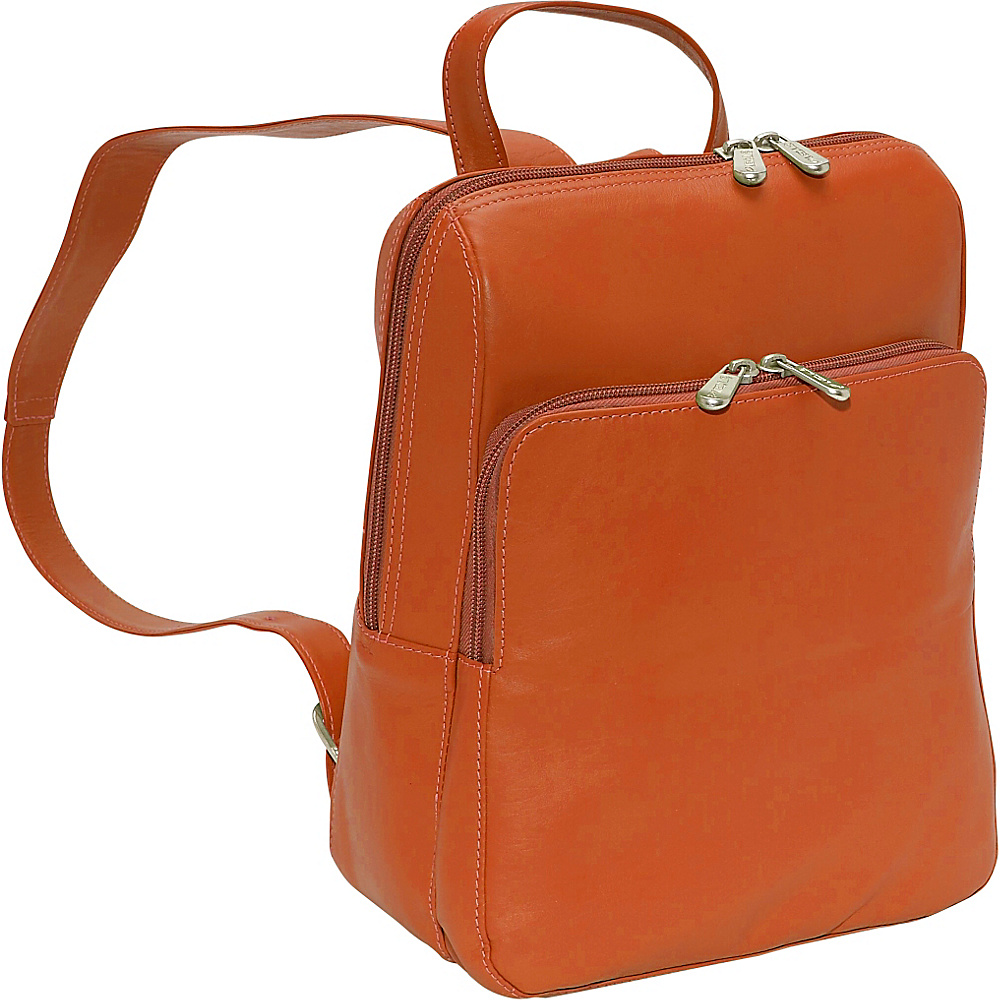 Piel Slim Front Backpack - Saddle - Handbags, Leather Handbags