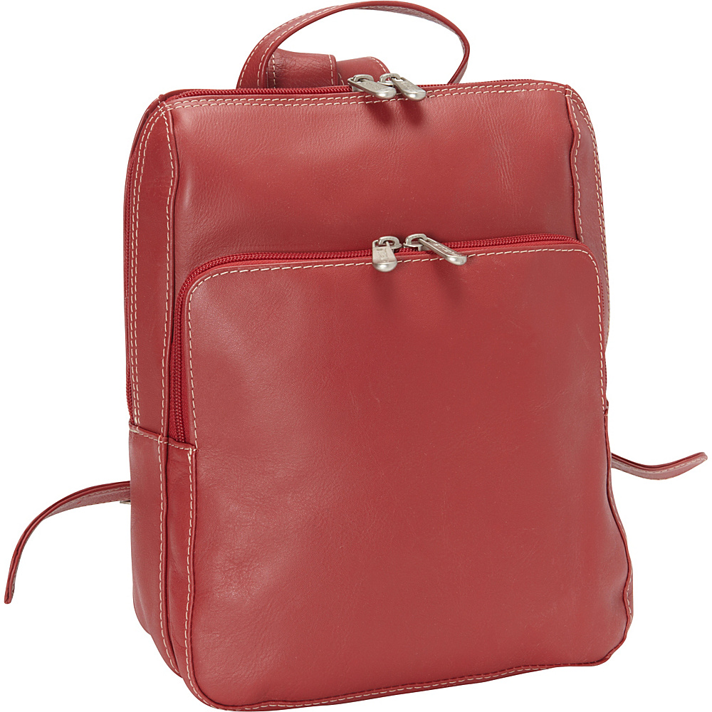 Piel Slim Front Backpack - Red - Handbags, Leather Handbags