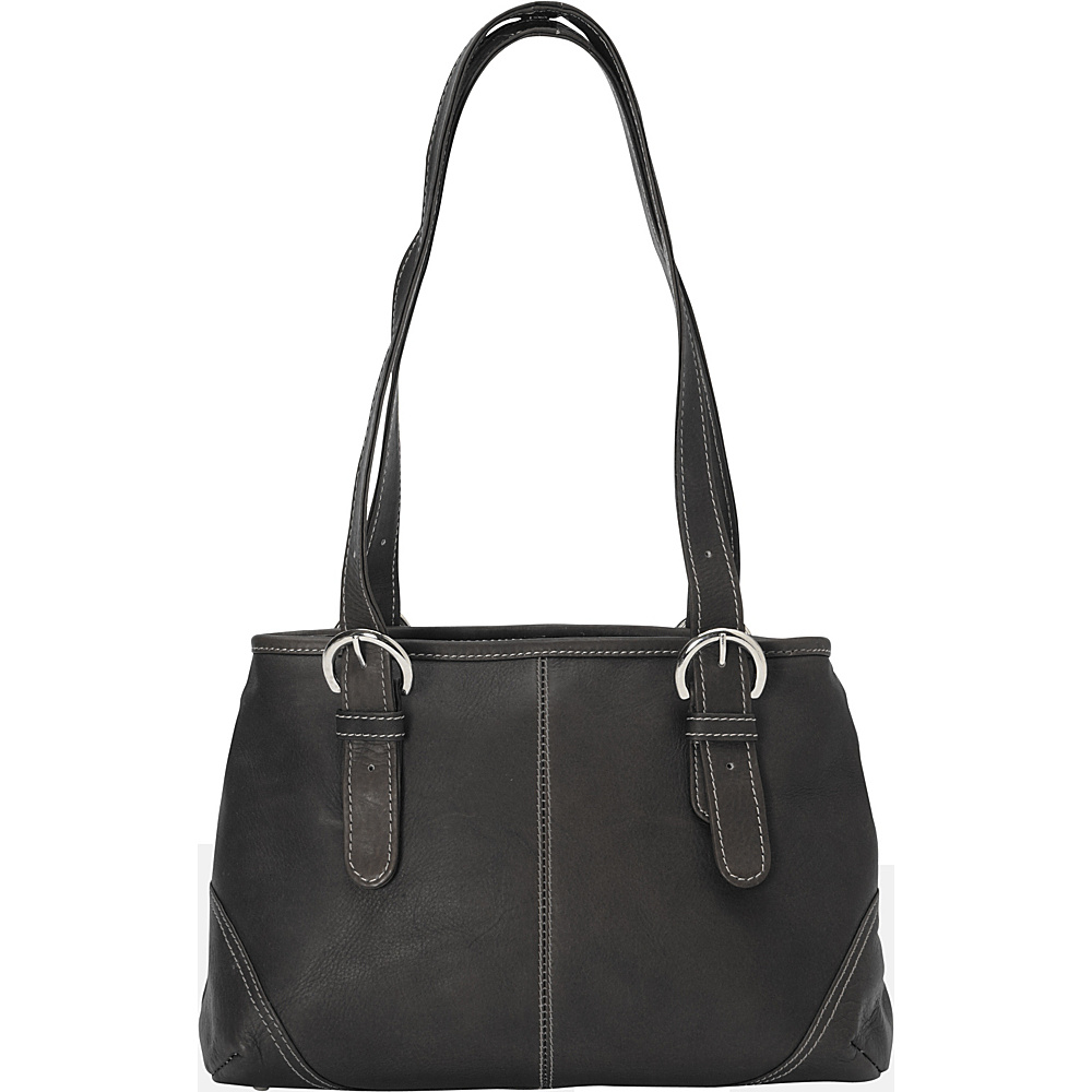 Piel Medium Buckle Handbag - Black - Handbags, Leather Handbags