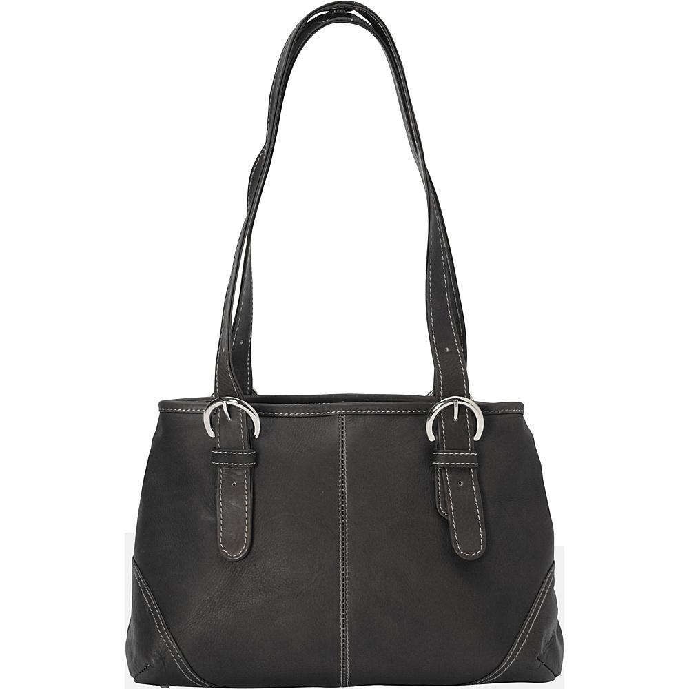 Piel Medium Buckle Handbag - Black - Handbags, Leather Handbags