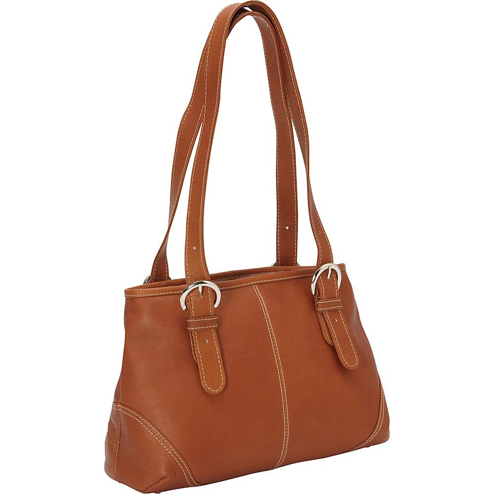 Piel Medium Buckle Handbag - Chocolate