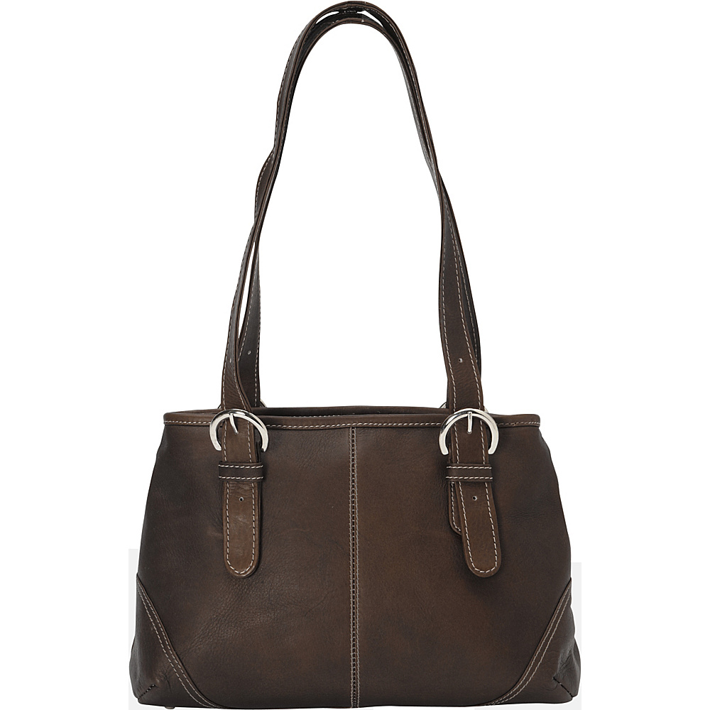 Piel Medium Buckle Handbag - Chocolate - Handbags, Leather Handbags