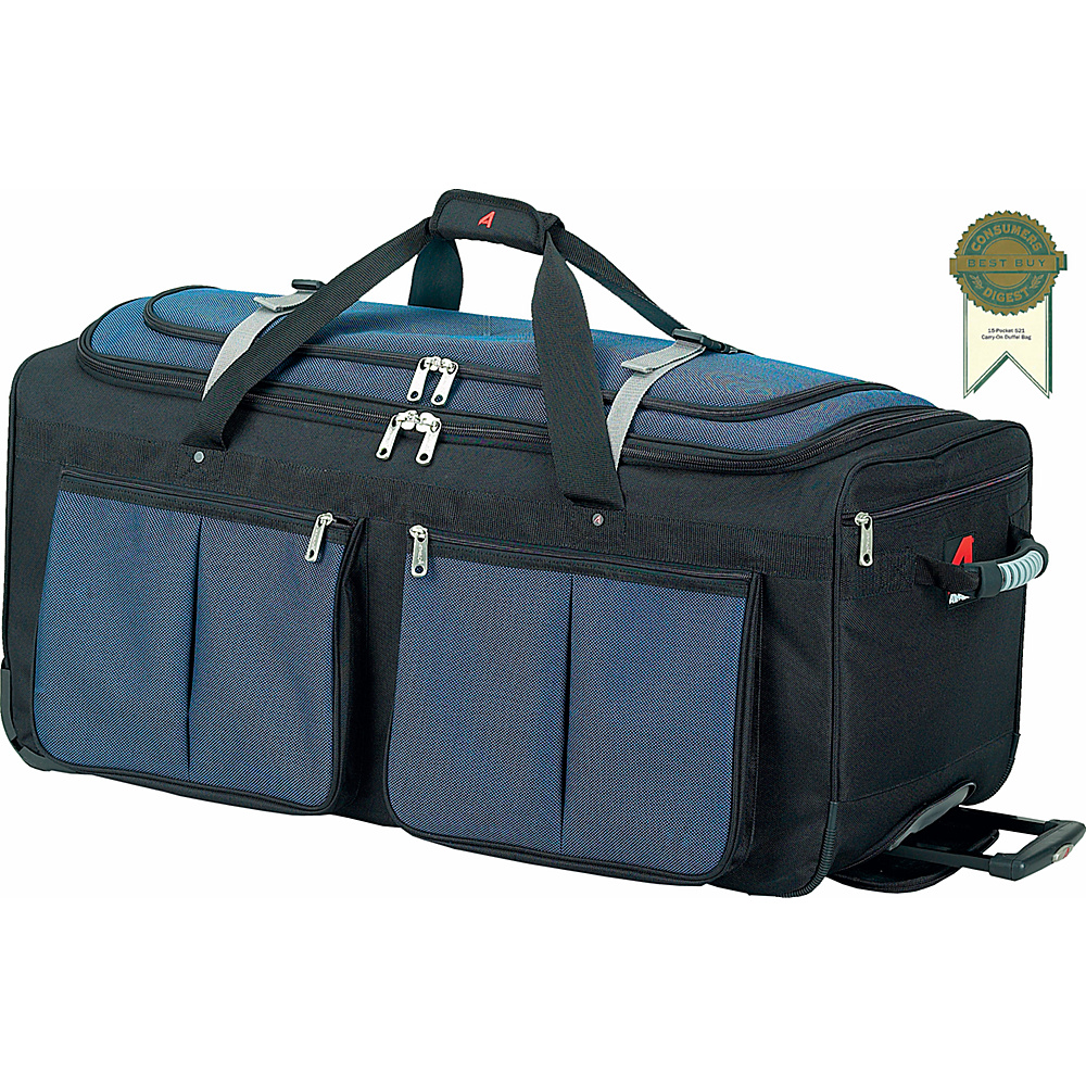 Athalon 15-Pocket 34Wheeling Duffel - Blue w/ Black - Luggage, Rolling Duffels