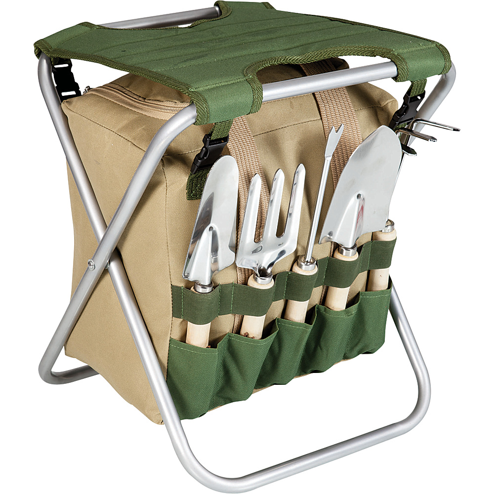 Picnic Time Gardener Folding Chair with Tools Green