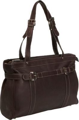 Piel Belted Laptop Tote - Chocolate