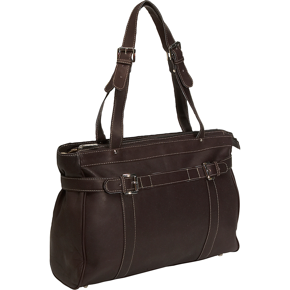 Piel Belted Laptop Tote - Chocolate - Work Bags & Briefcases, Women's Business Bags
