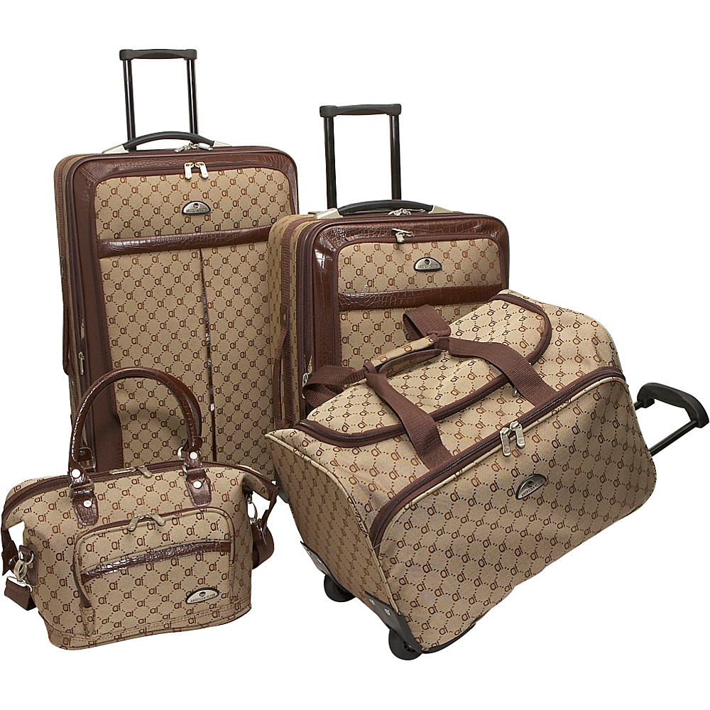 American Flyer AF Signature 4 Piece Luggage Set Brown American Flyer Luggage Sets
