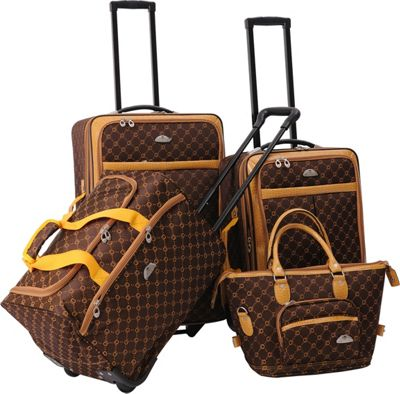 Image of American Flyer AF Signature 4-Piece Luggage Set Chocolate Gold - American Flyer Luggage Sets