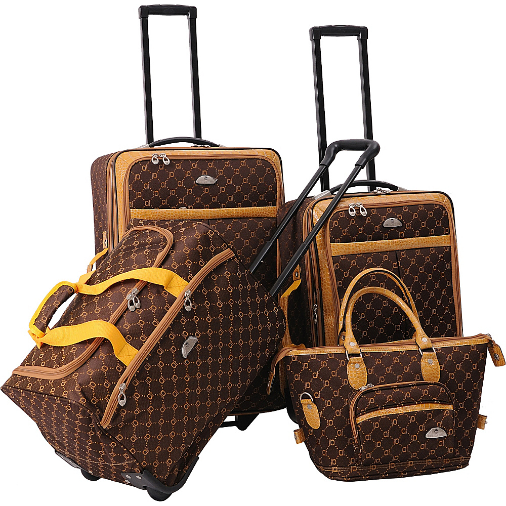 American Flyer AF Signature 4-Piece Luggage Set Chocolate Gold - American Flyer Luggage Sets
